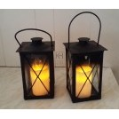 Square iron lantern with LED candle