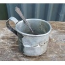 Old tatty metal tankard & spoon