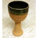 Historic green glazed pottery goblet