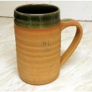 Historic green glazed pottery tankard
