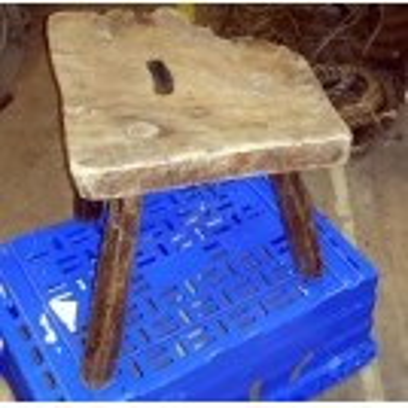 Rough edge wood stool