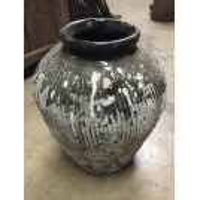 Aged Glazed Earthenware Pot