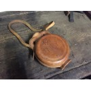 Round Tan Leather Water Bottle