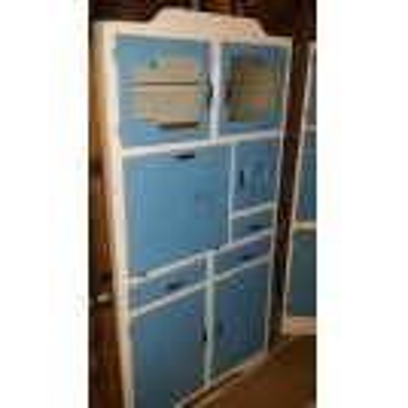 Blue kitchen larder cabinet