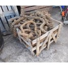 Large wood crate of old rope