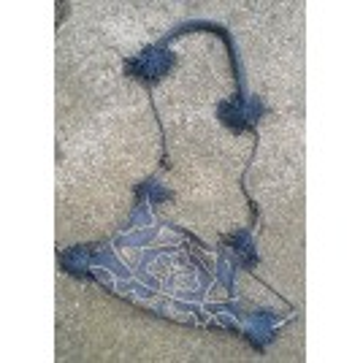 Blue silk bag with copper & tassles