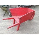 Red Wooden Wheeled Wheelbarrow