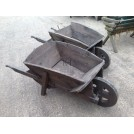 Dark Stained Wooden Wheeled Wheelbarrow