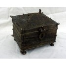 Small square ethnic brass chest