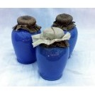 Small blue ceramic jar