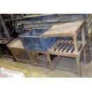 Wood sink drainer with lead sink & pump