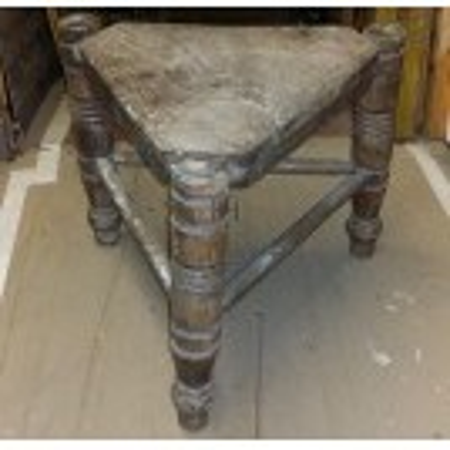 Triangular wood stool
