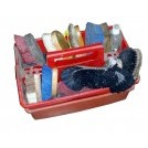 Plastic red grooming box with dressing