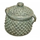 Black jewelled ornate pot with lid