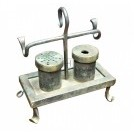 Iron writing set with quill holder