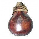 Bulbous leather water bottle