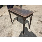 Dark wood polished turned leg table