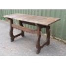 Dark wood shaped leg table