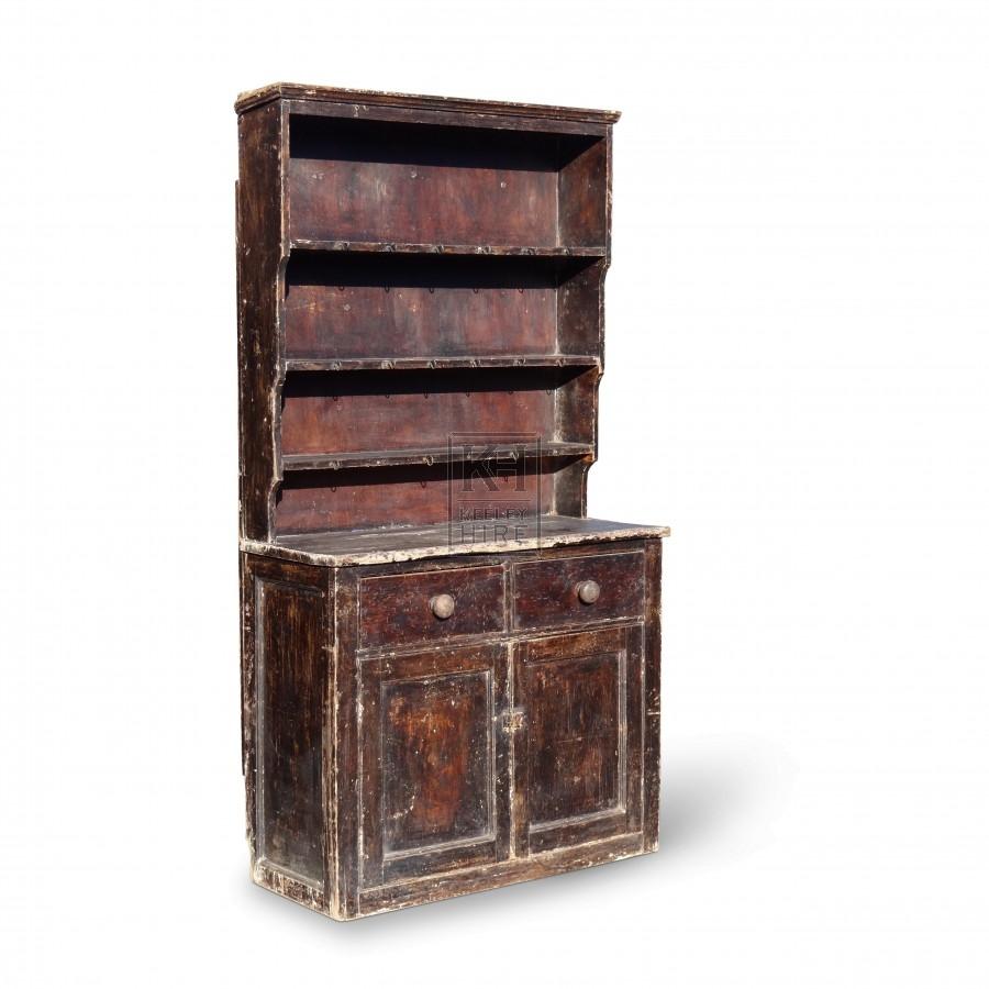 Furniture prop hire dark wood kitchen dresser keeley hire for Dark wood furniture