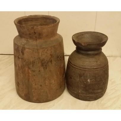 Large wood jar