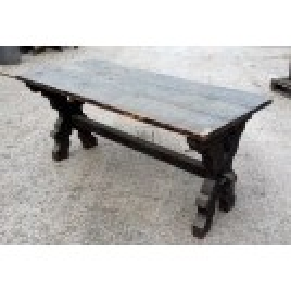 Dark wood X-frame table