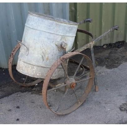 2 wheeled iron trolley with bin