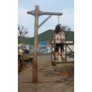 Tall wood gibbet post with arm & ring