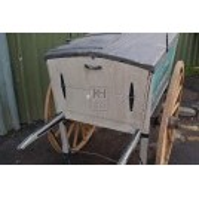 Blue Victorian trades cart