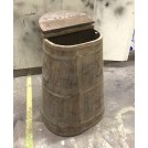 Oval wood water barrel with lid