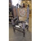 Leather Back Throne Chair With Skin Seat