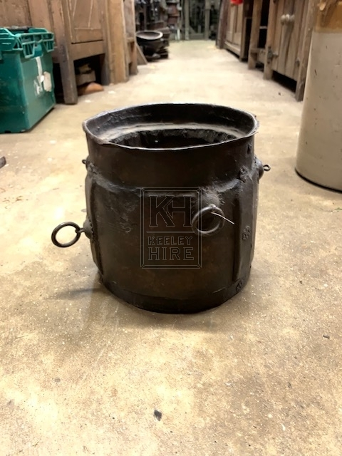 Wood and Metal Pot with Rings