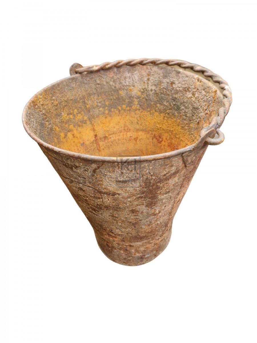 Wooden Handle Reed Bound Bucket
