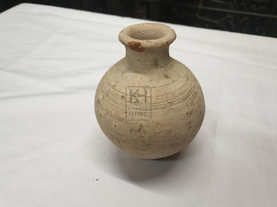 Small Round Earthenware Bottle