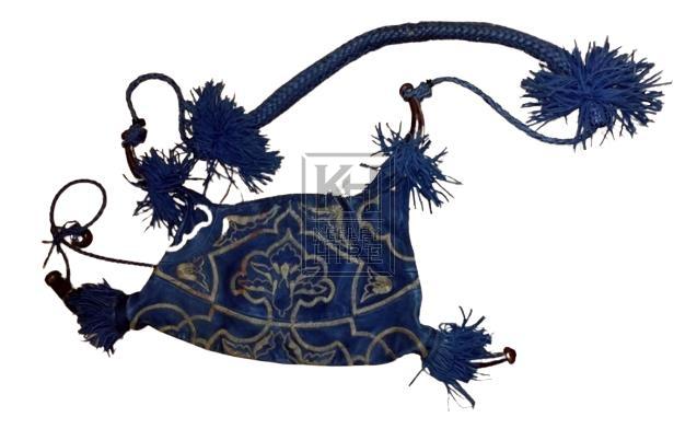 Blue water bottle bag with tassles
