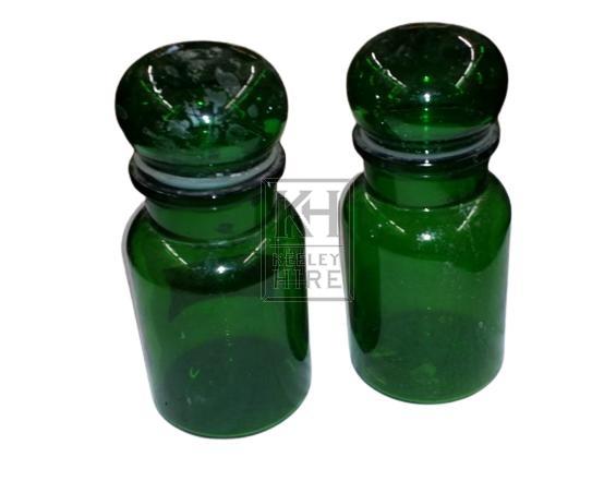 Green glass chemist bottle