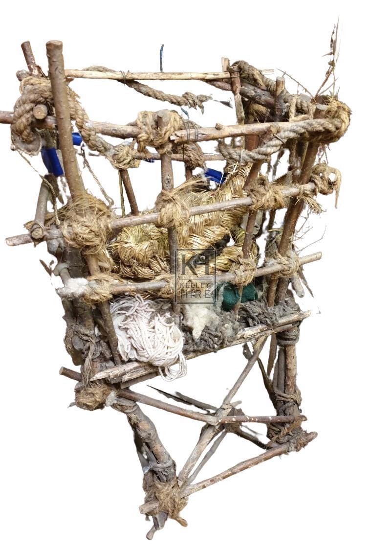 Freestanding rustic wool basket