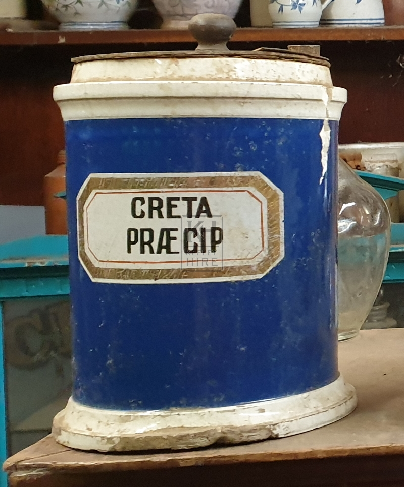 Blue china apothecary jar