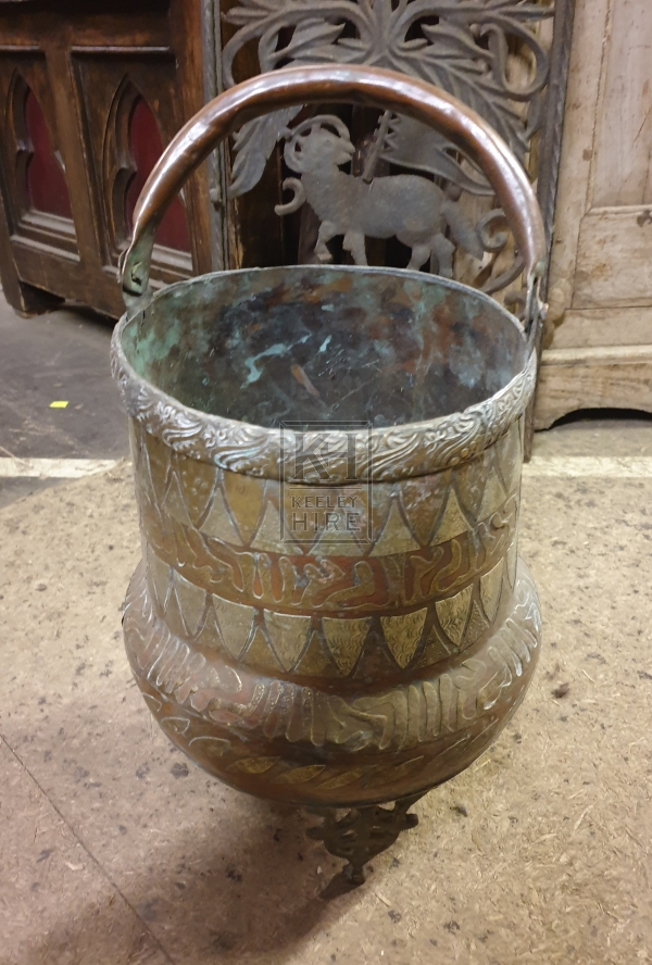 Brass & copper pot with handle & legs