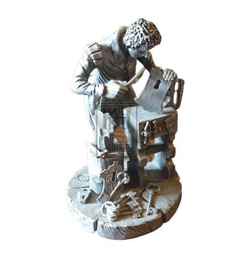 Small pewter model of blacksmith