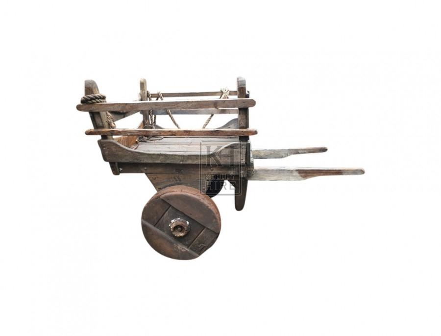 Early solid wheel handcart  & 2 handles