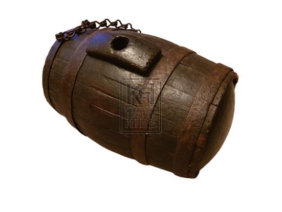 Small wood barrel on chain