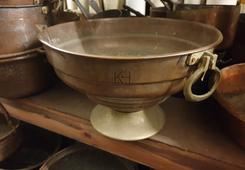 Large copper bowl with ring handles