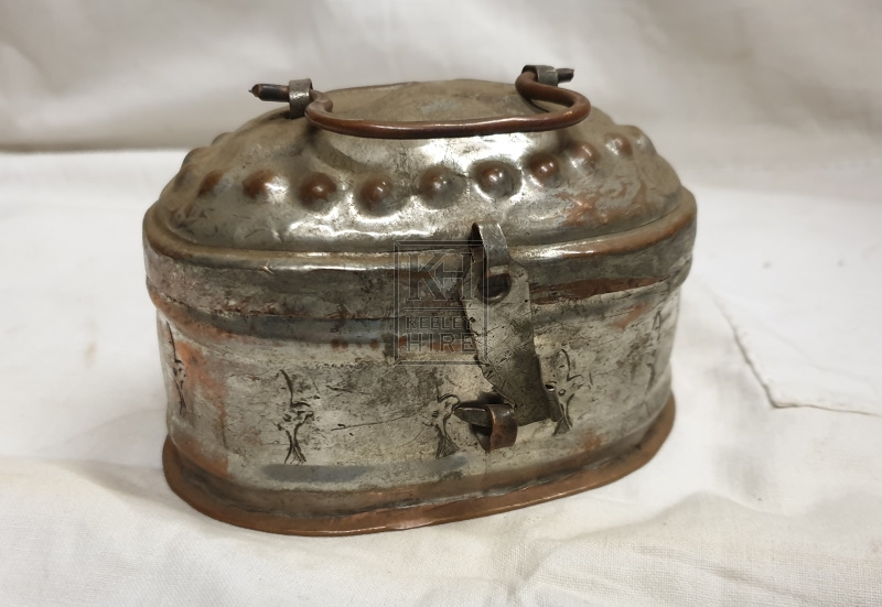 Small oval copper tin with lid