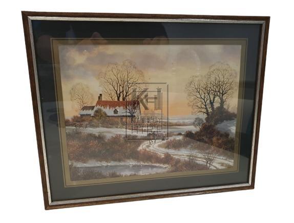 Snow scene framed picture
