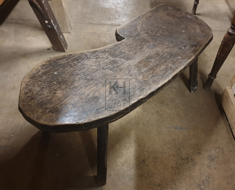 Shaped wood bench