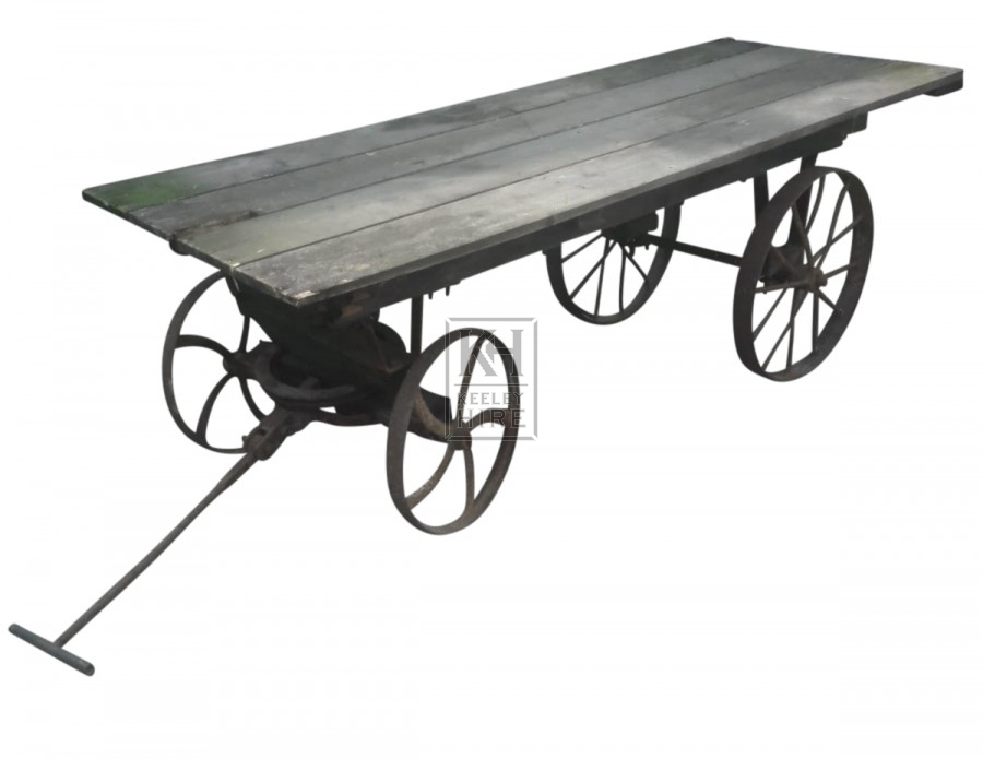Flat wood cart with iron wheels