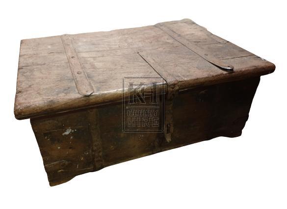 Medium flat wood chest with iron work