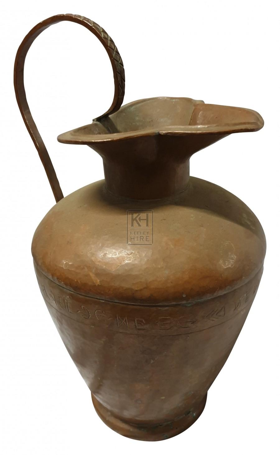 Bulbous copper jug with spout