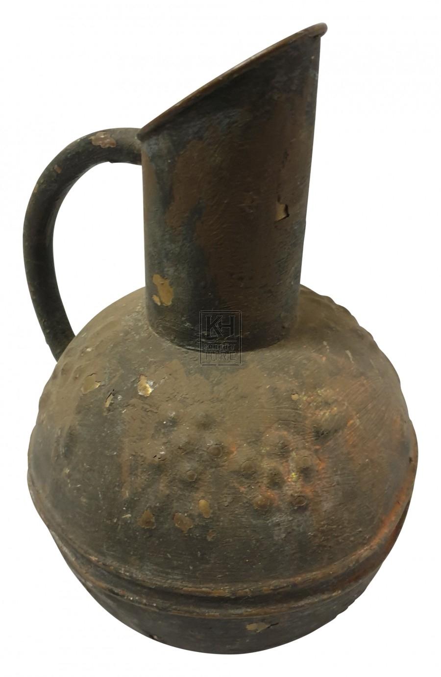 Bulbous patterned copper jug