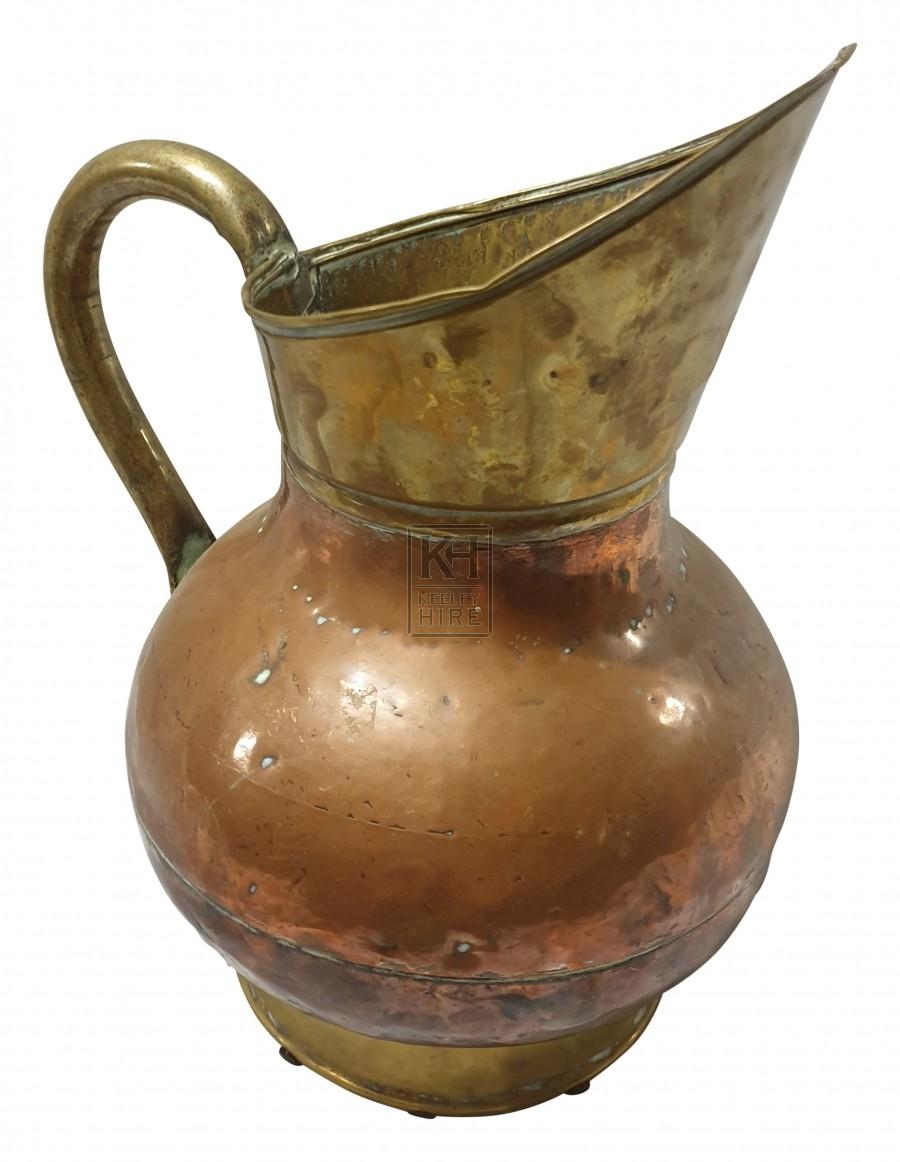 Copper & brass bulbous jug
